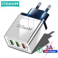 Cell Phone Chargers Carregador de parede usb rápido qgeem 3.0, carregador portátil para celular com adaptador qc 3.0 for xiaomi, iphone x,