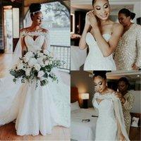 Elegant African Mermaid Wedding Dresses 2021 Robe De Mariee Lace Sweetheart Wedding Gowns Custom Made Long Train Bride Dresses