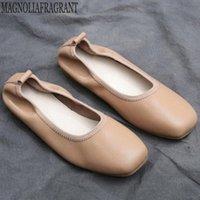 2020 Весна осень женская обувь натуральная кожа неглубокая рот одиночная обувь квадратная голова ретро бабушка Zapatos de Mujer Hy383 повседневная обувь для мужчин женщин S L20W #