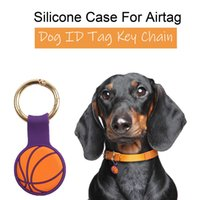 Fashion Key Chain Anneaux Cas de protection en silicone pour Airtag Anti-Lost Tracking Device Device Finder Tracker Locator Sacs DIY PET Dog Collier Collier Tag Baseball Baseball Keychain