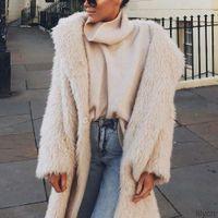 New Womens Inverno Maglione Stile spessore caloroso per le donne Trendyol X-Lungo Maglioni di lana Faux Fluffy Pelliccia Teddy Hooded Fleece Giacca Cappotto Cappotto Cappotto
