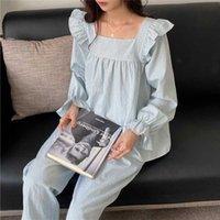 2021 Hanqiu плед ночной умысло сладкая девушка с длинными рукавами пижамы домашний костюм женщина