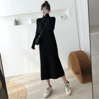 Casual Dresses Knitting Ribbed A Line Dress Women Long Sleeve Half High Collar Robe Black Office Lady Vestidos De Mujer Pullover Clothes