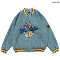 Giacche per bombardiere in velluto da uomo Vintage Harajuku Lettera Giacca da baseball da ricamo 2020 Autunno Unisex Streetwear V-Neck Streetwear