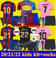 2021 2022 Barcelona Kit Kit de Jogos de futebol Juventude 21 22 Messi Ansu Fati Camiseta Futbol Grisezmann de Jong Boys Schild Est Futebol