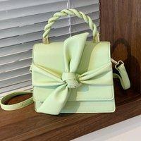 Bolsas de hombro Color sólido de cuero de alta calidad para las mujeres 2021 Butterfly Bow Bolso Bolso Casual Conciso Crossbody Bolsa Sac
