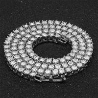 Мужские алмазные омороженные ожерелье из тенниса ожерелье серебряные розовые золотые цепи хип-хоп ожерелье ювелирные изделия 3 мм 4 мм 5 мм 41 R2