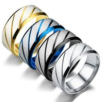 8MM Stainless Steel Gold Silver Blue Black Color Finger Band Rings For Men Party Club Wear Birthday Jewelry 1220 B3