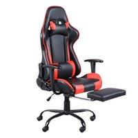 Competição Eletrônica Cadeira de Mobiliário Computer Internet Bar Game Office pode ser girado com descanso de pé preto e vermelho Fundos domésticos