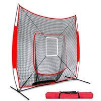 Golf Training Aids 7x7 Ft Softball Baseball Practice Net With Frame Hitting Pitching Batting Catching Backstop Equipment Strike Zone