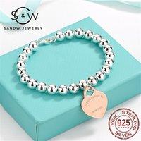 Sandw Silver Heart Card Bracte Ювелирные Изделия Любовь Подруга Подарки Женщины Trend Fashion Classic Style Handmade Оригинальное Высокое Качество