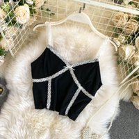 Lace camisole women Camis are fashionable outside wear all-match high-waist short bottoming shirt with top in trendy womens clothing
