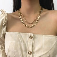 الحد الأدنى figaro قلادة مزدوجة الشرير الهيب هوب طوق بيان سلسلة سميكة سلاسل مجوهرات بيجو الإناث
