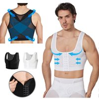 Men's Body Shapers Male Slimming Vest Gynecomastia Boobs Control Adjustable Shaper Compression Tank Top Sleeveless Back Posture Shapewear