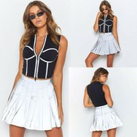 Skirts Women High Waist Reflective Skirt Fashion Ladies Casual Slim Zipper Evening Cocktail Party Mini Dress Plus Size