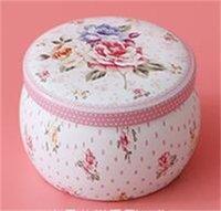 Taşınabilir Davul Şeklinde Kalay Kutuları Çiçek Çay Konteyner Kutular Şeker Çerez Kutusu Parti Hediyeleri Paketi için 175 V2