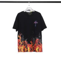 The Mens and Womens Summer Tops Tees Manica corta Camicie Travis ScottFlame Stampato Fashion Brand Hip Hop Kanye T-shirt