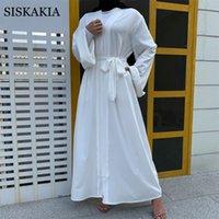Katı Minimalist Dubai Kimono Abaya Siyah Beyaz Türkiye Arapça Middie Doğu İslam Kadınlar Hırka Robe Ramadan Eid 2021