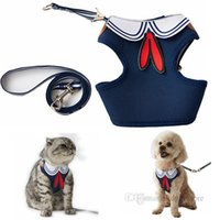 Dog Collars Leashes Soft Mesh Cloth Ventilation Stereoscopic Cutting Dogs Cat Puppy Pet Harness Vest and Leash Set for Small Dogg Walking Navy Sailor Style Blue B11