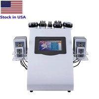 Stock in USA 40k 6in 1 Ultrasonic Cavitation Slimming Machine Vacuum RF 8 Pads Lipo Laser Lipolysis 635nm 650nm Ultherapy Body Shaping