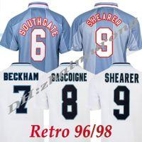 Retrô 1996 Jersey Jersey Gascoigne Shearer Beckham Southgate Clássico Vintage Sheringham 96 98 Home Away Futebol Camisa