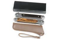 Camping Hunting FA58 M390 Low Profile Gentleman's knives 3CR13 blade,Ebony + gold sandalwood handle,black box , leather pouch folding pocket EDC tools parling knife