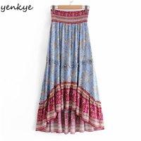 Yenkye Vintage Çiçek Yazıcı Boho Uzun Kadınlar Elastik Yüksek Kuyruk Büyük Omuz Ruche Yaz Rok Casual Tatil Jupe Femme