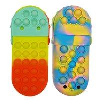 Squishy Silicon Pencil Box Pop Sensory Bubbles Cellphone Straps Fidget Push Simple Dimples Slipper Pen Bags Decompression Toys Antistress Popper Games Stationery