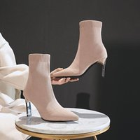 Boots Fashion Pointed Toe Women's Autumn Winter High Heels Stretch Boot Warm Lightweight Comfortable Casual Female Shoes