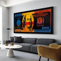 Paintings Gold Modern Colorful Hundred Money Canvas Painting Wall Art Quadro Street Abstract Poster Picture Home Decor