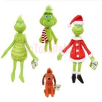 Grinch Stole Plush Toys Grinch stuffed toy Max Dog Doll Soft Stuffed Cartoon Animal Peluche for Kids Christmas Gifts FY4354