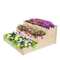 US Warehouse 3 Layer Planter Wood Planting Frame Ladder Type for Gardens Patios Flower Little Shrub 123*57*76cm