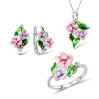 Luxury Female Crystal Enamel Jewelry Set Charm Silver Color Wedding Clip Earrings For Women Cute Flower Chain Necklace Ring &