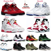 Hommes Basketball Chaussures Jumpman 2021 Carmine 6S Feu Red Black Cat 5S Raging Bull Stealth Mens Entraîneurs Sports Sporress Sneakers Taille 7-13