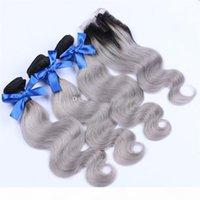 9A graigrelet gris ombre malaisien cheveux avec fermeture deux tons ombre cheveux avec fermeture 3 paquets ombre extensions de cheveux humains avec fermeture en dentelle