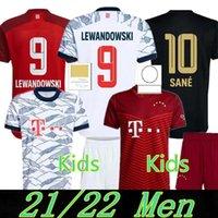 21 22 Bayern Lewandowski 축구 유니폼 팬들 선수 버전 Sane Goretzka Munich Muller Davies Kids Kits 2021 2022 Camiseta Camisetbol