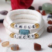 10Pcs Plated Gold SMILE Letter Plastic Beads Bracelet Women 8mm White Disc Heishi Vinyl Elastic String Bohemia Charm Bracelets