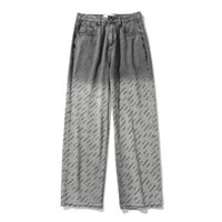 Men's Jeans Clothing Letter Printing Gradient Tie-dye European And American Style Casual Trousers Loose Straight Leg
