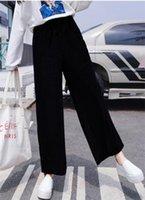 النساء السراويل الخريف الشتاء سميكة المخملية مرونة الخصر السراويل عارضة واسعة الساق زائد الحجم أسود فضفاض M-6XL