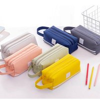 High Capacity Pen Bag Durable Pen Case With Handle Portable Double Layer Stationery Storage Bag (6 Colors) CC0645