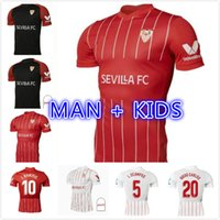 21 22 Sevilla FC Soccer Jerseys Papu Gomez I.rakitic L.OCAMPOS DE JONG J.NAVAS SUSO MUNIR Y.ES-NESYRI 2021 2022 Hombres + Kits Kits Camisetas de fútbol