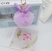 2021 패션 키 링 폭스 모피 토끼 귀 플러시 인공 키 체인 가방 펜던트 사용자 정의 디자인 OEM