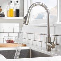Кухонный раковиной кран матовый никель отделка выдвигая опрыскиватель для палубы Mouse Mixer Tap Swivel Slege SeaY GWF10236