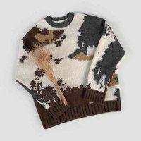 Sweaters pour hommes IEFB Suéter Grosso Masculino, Outono Inverno, Estilo Coreano, Montanha de Neve, Jacquard, Kint, Pulôver, Tendência, Solto, Gola Redonda, BSPW