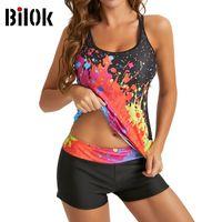 Bilok 2021 Plus Size Swimsuit for Women Girls Contrast Graffiti Print Sling Two Piece Bikini Set Bath Suit Vacation Beach Swimwear Tankini