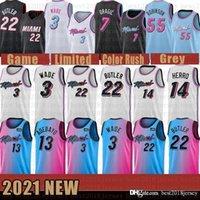 2021 novo jersey de basquete miamiCalorMens Dwayne Dwyane 3 Wade Jimmy 22 Butler Tyler 14 Herro Bam 13 Adebayo Marfim
