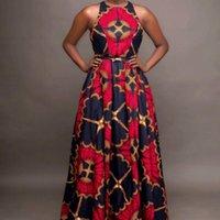 African Dresses Women Sleeveless Dashiki Robe Maxi Dress 2021 Summer Long Ladies Traditional Clothing Fairy Dreems Ethnic