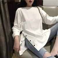 Women's T-Shirt Plus Size M-4XL Long Sleeve T-shirts Women Design Side-slit Streetwear O-neck Button Oversize Tshirts Elegant Solid Tops Wom
