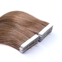 Color #8 Silky Straight Tape In Hairs Extensions Brazilian Remy Hair Skin Wefts For Women