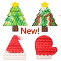 New Puzzle Toy Push Finger Fidget Sensory Bubble Decompression Christmas Hat Tree Glove Anxiety Stress Reliever Toys
